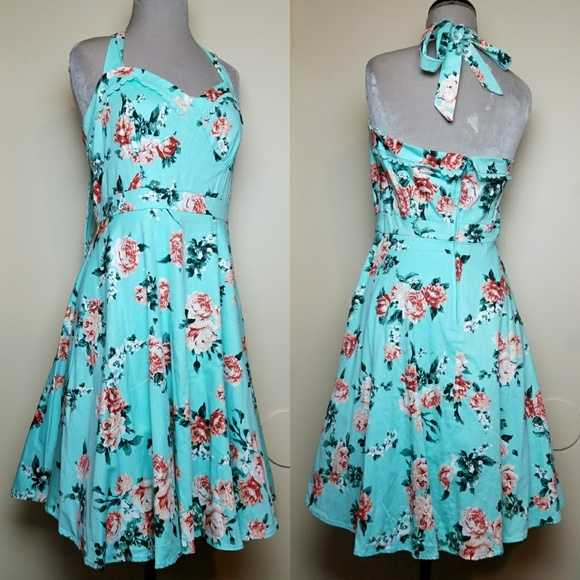 44870315becb1 Hot Topic Dresses & Skirts - Floral Turquoise Pink Rose Pinup Swing Dress  Large